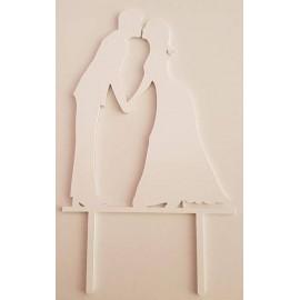 Topo de bolo em branco silhueta Noivos a beijar Acrílico