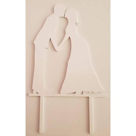 Topo de bolo em branco silhueta Noivos a beijar