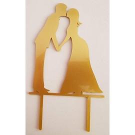 Topo de bolo em dourado silhueta Noivos a beijar Acrílico