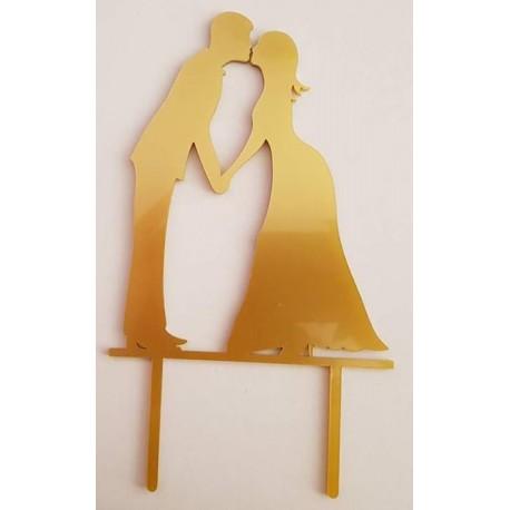 Topo de bolo em dourado silhueta Noivos a beijar