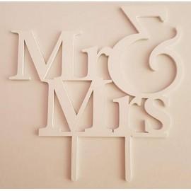 Topo de bolo em branco Mr & Mrs Acrílico