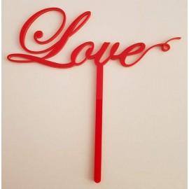 Topo de bolo em vermelho Love Acrílico