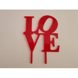 Topo de bolo em vermelho Love grosso Acrílico
