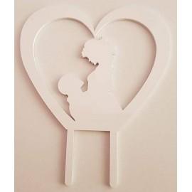 Topo de bolo em branco coração com silhueta casal Acrílico