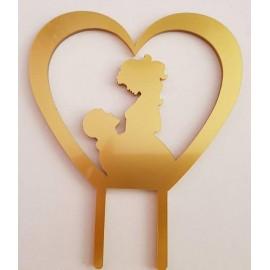 Topo de bolo em dourado coração com silhueta casal Acrílico
