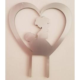 Topo de bolo em prata coração com silhueta casal Acrílico
