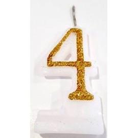 Vela com purpurina dourada nº4 com 9 cms