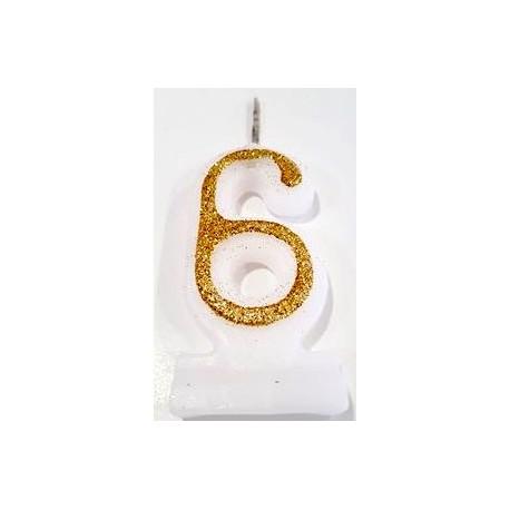 Vela com purpurina dourada nº6 com 9 cms