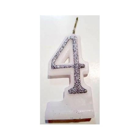 Vela com purpurina prata nº4 com 9 cms