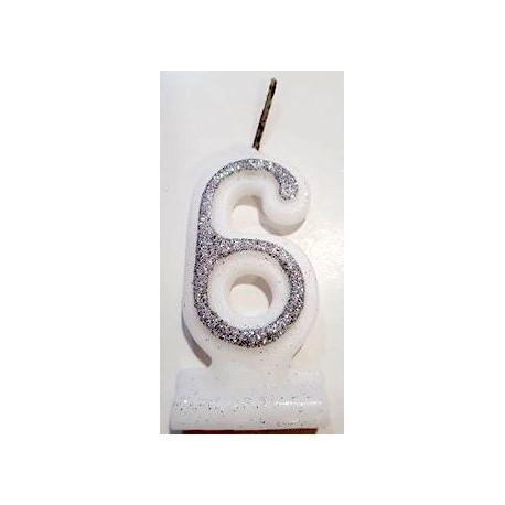 Vela com purpurina prata nº6 com 9 cms