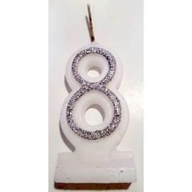 Vela com purpurina prata nº8 com 9 cms