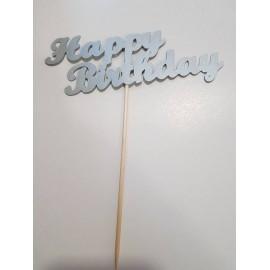 """Topo de bolo prateado """"Happy birthday"""" Papel"""