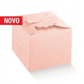 Caixa Margherita rosa com 10X10X9 cm