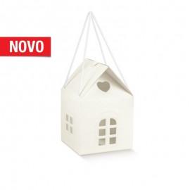 Caixa casa com cordão branca 120x120x120 mm