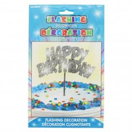 Topo de bolo luminoso Happy birthday prata Unique