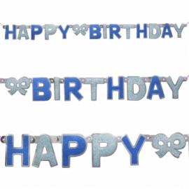 Faixa Happy birthday (parabéns) azul com 1,27 m
