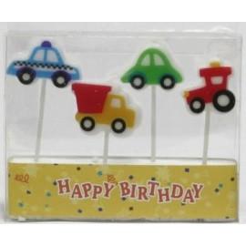 Conj. 4 velas carros (policia, carro, camião,tractor)