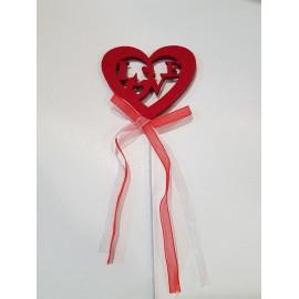 Coração feltro vermelho Love com pico - pack 6 unid