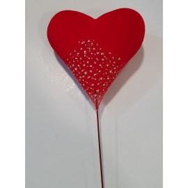 Coração vermelho 9 cms com pico - pack 4 unid.