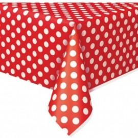Toalha de mesa vermelha com bolinhas plástica com 1,37x2,74 mt Unique