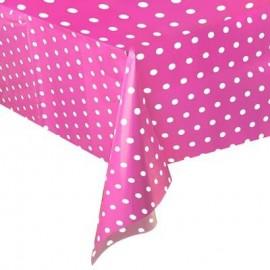 Toalha de mesa rosa com bolinhas plástica com 1,37x2,74 mt Unique