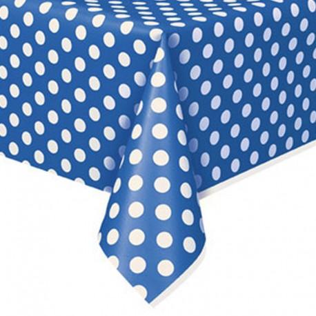 Toalha de mesa azul com bolinhas plástica com 1,37x2,74 mt Unique