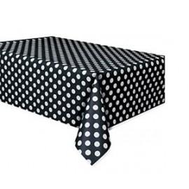 Toalha de mesa preta com bolinhas plástica com 1,37x2,74 mt Unique