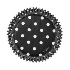 Petifur preto com bolinhas brancas + vermelho 75 unid. 5 cms Wilton