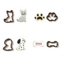 Conj. 4 cortantes plásticos gato-cao-pata-osso decora