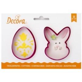 Cortante pascoa ovo + coelho decora bolachas
