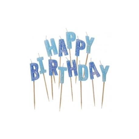 Conj. velas happy birthday azul Unique