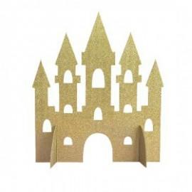 Topo mesa - bolo castelo em gliter dourado Unique princesa