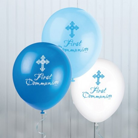 Conj. 8 Balões first communion azul escuro - azul - branco Unique