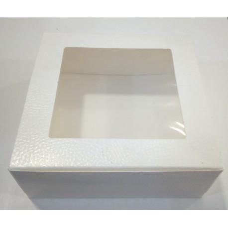 Caixa com Tampa e janela 16x16x6cm Pele Branco