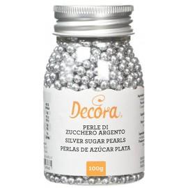 Pérolas cor prata Decora 100 gr.