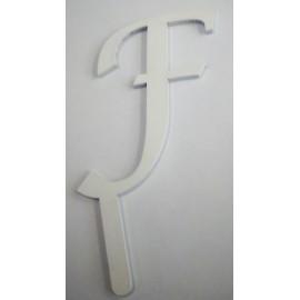 Letra F em acrílico com 7,5 cms altura