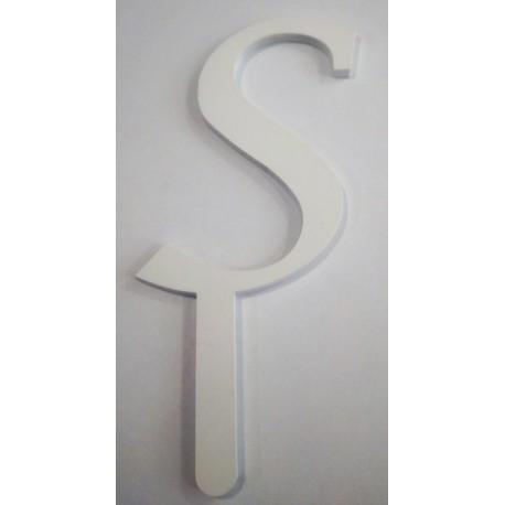 Letra S em acrílico com 6 cms altura