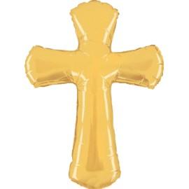 Balão dourado forma cruz - comunhão - páscoa 112 cms