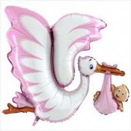 Balão rosa cegonha com bebé 135 cms - batizado