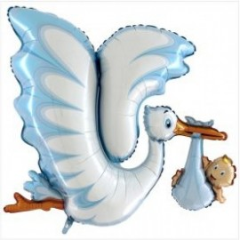 Balão azul cegonha com bebé 135 cms - batizado