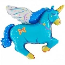 Balão unicornio azul 90 cms
