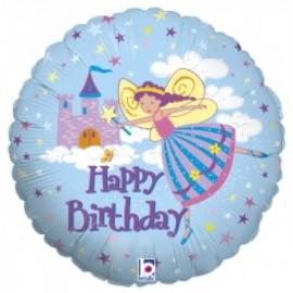 Balão Happy birthday princesa azul 46 cms
