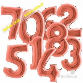 Balão rosa dourado em forma de número 86.3 cm