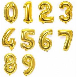 Balão dourado em forma de número com 1 mt