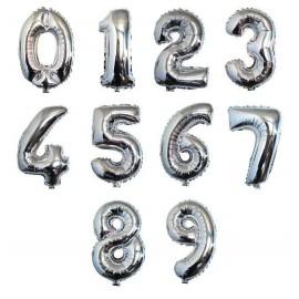 Balão prata em forma de número com 1 mt