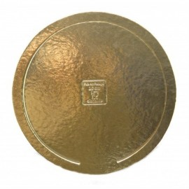 Base cartão dupla face dourada-preto diâmetro 28 cm