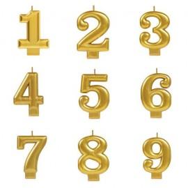 Vela dourada nº2 com 7,5 cms