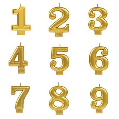 Vela dourada nº7 com 7,5 cms