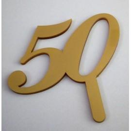 Topo de bolo dourado 50 Acrílico