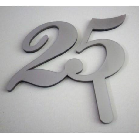 Topo de bolo prata 25 Acrílico